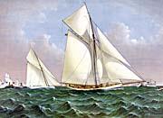 Currier And Ives Mayflower Saluted by the Fleet