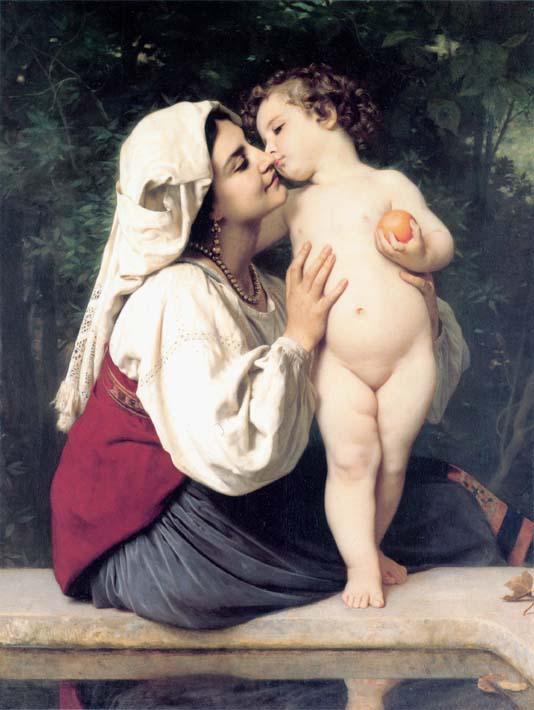 William Bouguereau A Child's Kiss stretched canvas art print