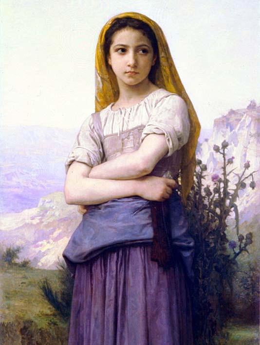 William Bouguereau The Knitter stretched canvas art print