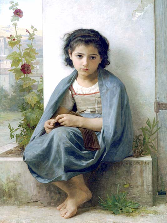 William Bouguereau The Little Knitter stretched canvas art print