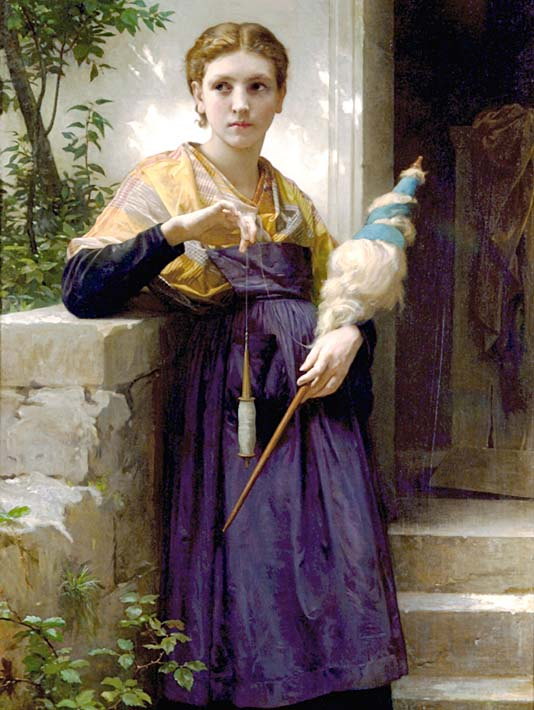William Bouguereau The Spinner stretched canvas art print