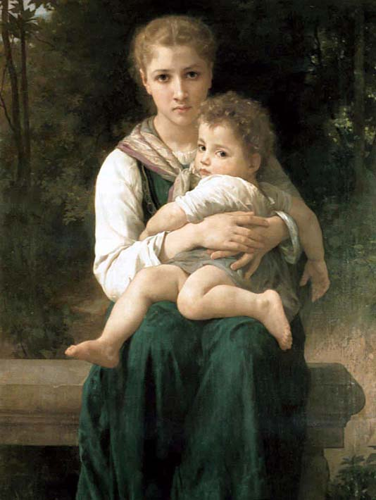 William Bouguereau The Two Sisters stretched canvas art print