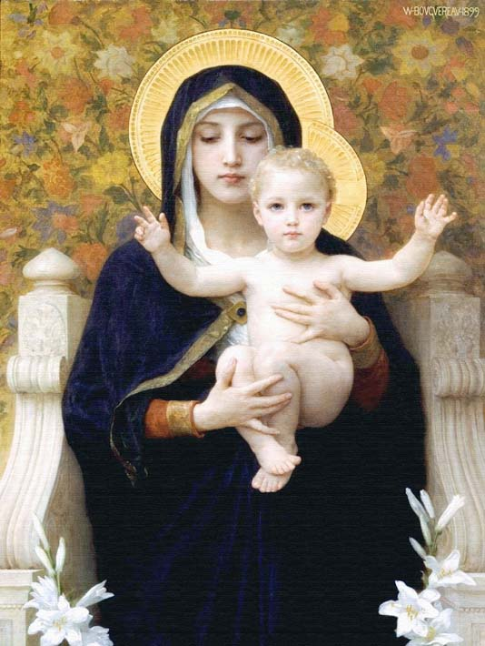William Bouguereau The Virgin of the Lilies stretched canvas art print