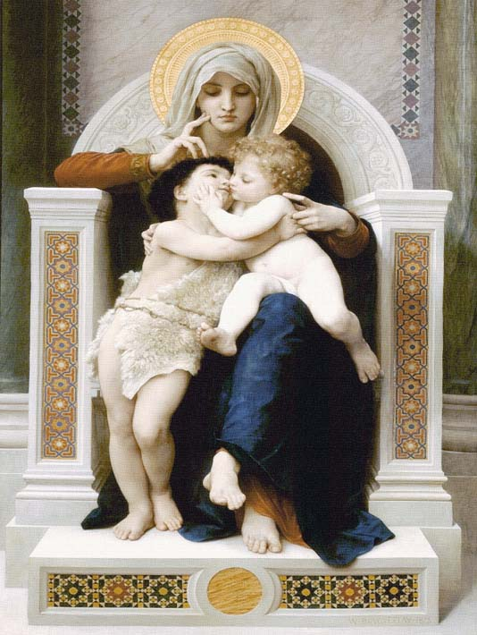 William Bouguereau The Virgin, Baby Jesus, and Saint John the Baptist stretched canvas art print