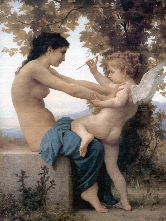 William Bouguereau Young Girl Defending Herself Against Love stretched canvas art print