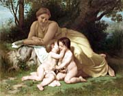 William Bouguereau Young Woman and Children Embracing