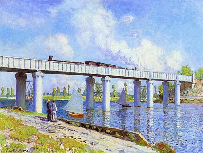 Claude Monet The Railroad Bridge, Argenteuil stretched canvas art print