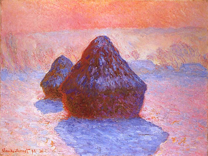 Claude Monet Haystacks, Snow Effect stretched canvas art print