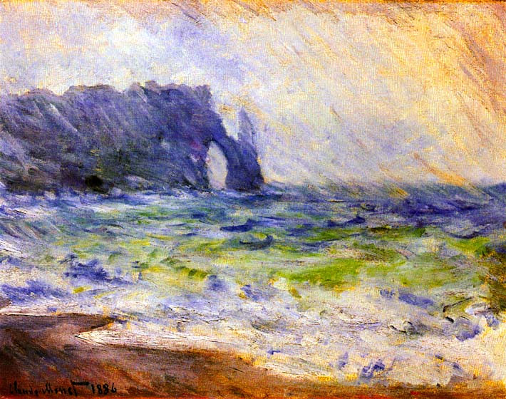 Claude Monet Rain at Etretat stretched canvas art print
