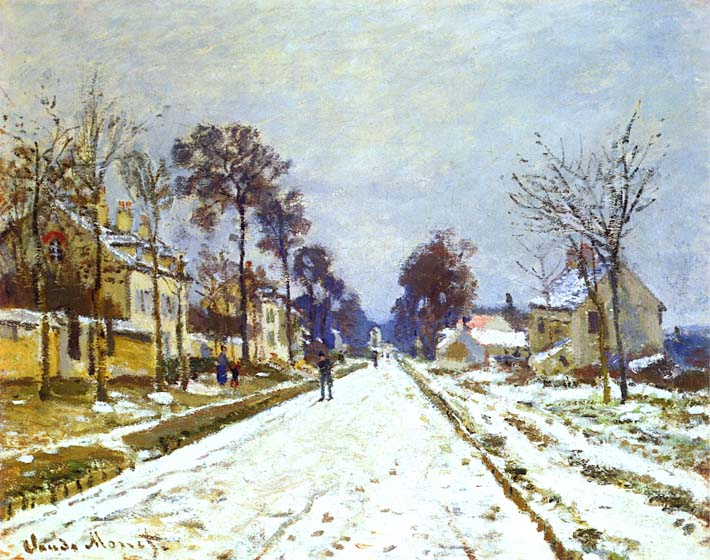 Claude Monet Road at Louveciennes, Snow Effect stretched canvas art print