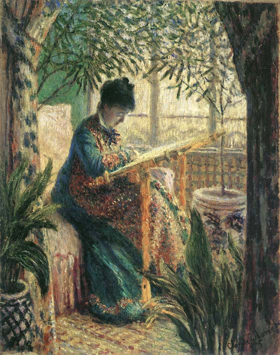 Claude Monet Madame Camille Monet Embroidering stretched canvas art print