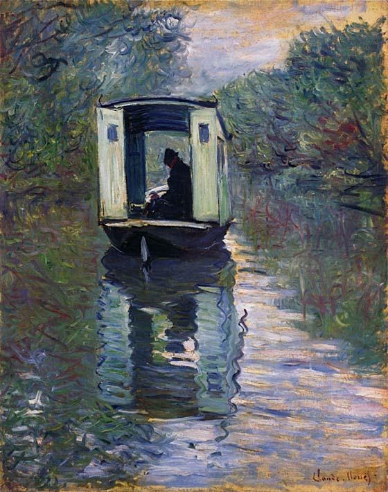 Claude Monet The Boat Studio stretched canvas art print