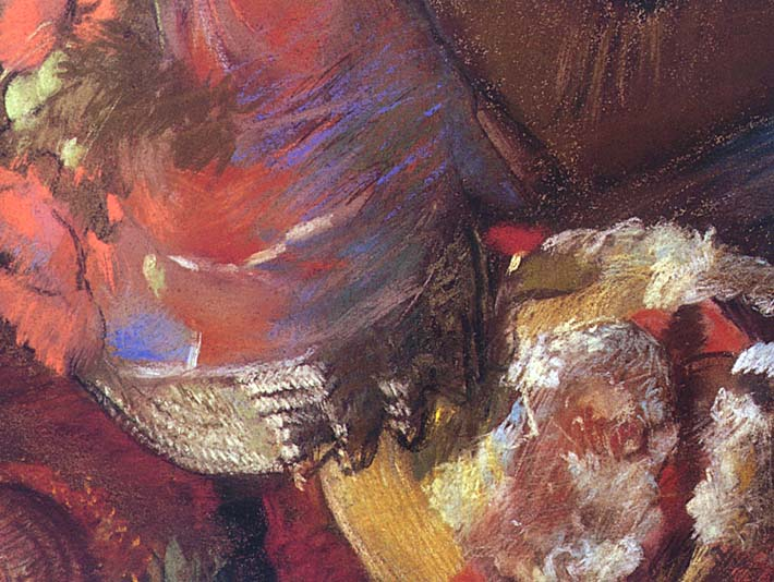 Edgar Degas At the Milliner's (detail) stretched canvas art print