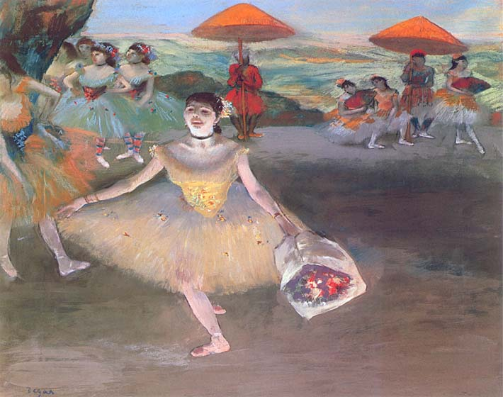 Edgar Degas Ballerina with a Bouquet of Flowers stretched canvas art print