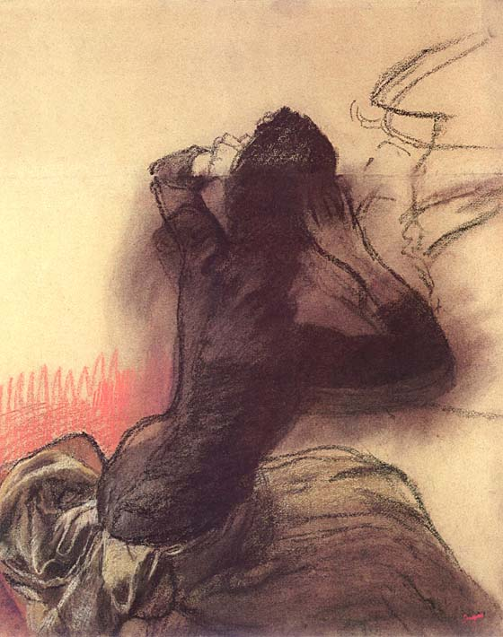 Edgar Degas Seated Woman Adjusting Her Hair stretched canvas art print