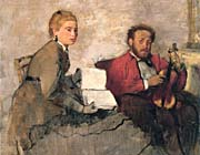 Edgar Degas Violinist And Young Woman Holding The Music canvas prints