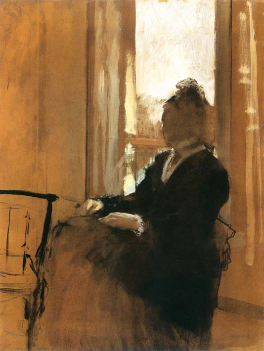 Edgar Degas Woman at a Window stretched canvas art print
