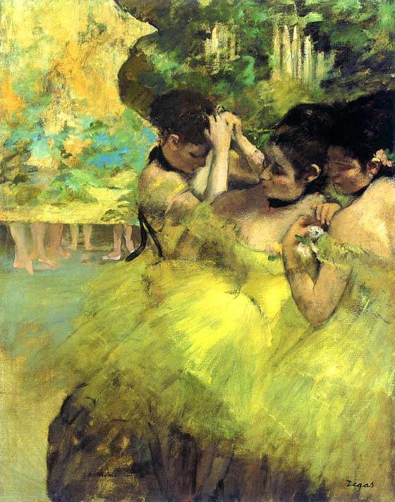 Edgar Degas Yellow Dancers in the Wings stretched canvas art print