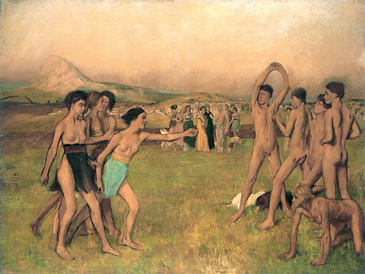 Edgar Degas Young Spartans Exercising stretched canvas art print