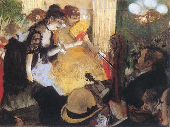 Edgar Degas Cafe Concert (right detail) stretched canvas art print