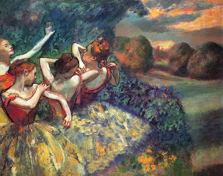 Edgar Degas Four Dancers stretched canvas art print