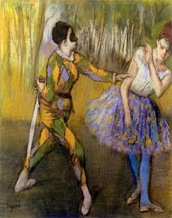Edgar Degas Harlequin and Colombina stretched canvas art print