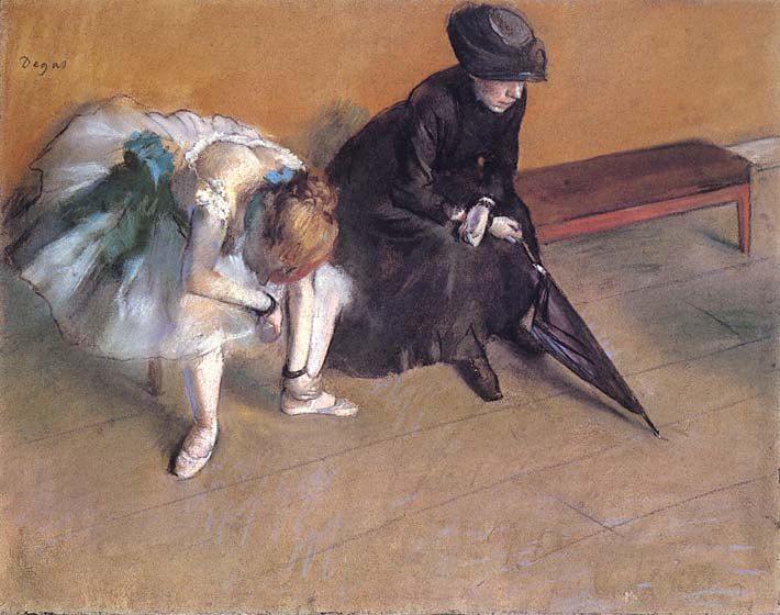Edgar Degas Waiting stretched canvas art print