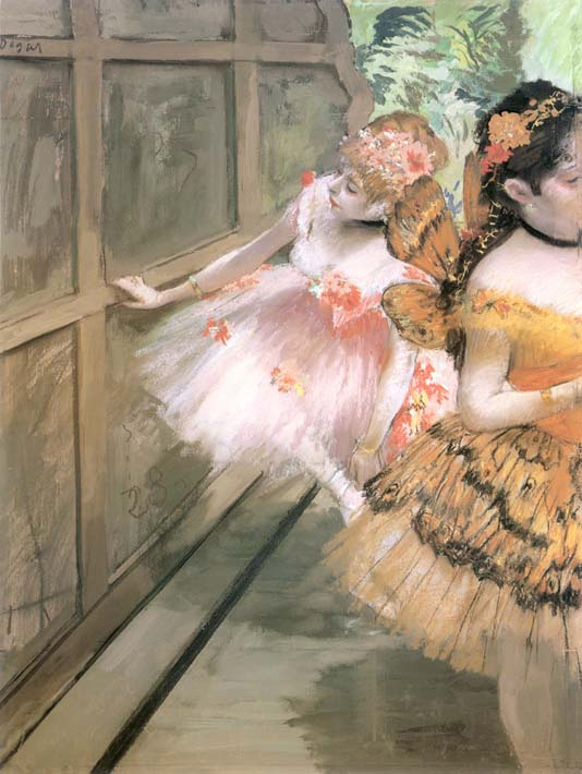 Edgar Degas Impressionist Dancers in the Wings stretched canvas art print