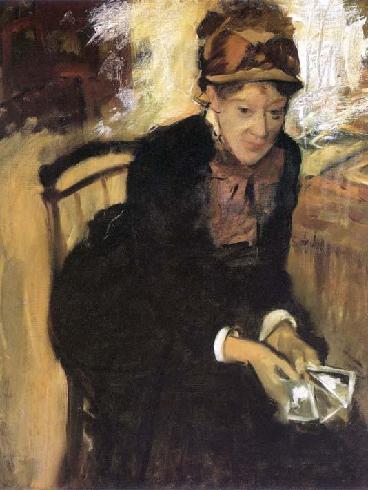 Edgar Degas Miss Cassatt Holding Cards stretched canvas art print