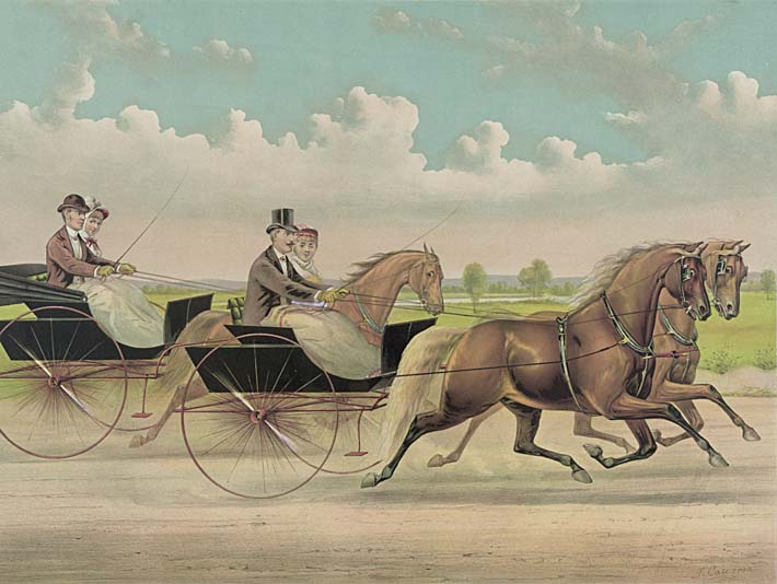 Currier and Ives A Brush with Webster Carts stretched canvas art print