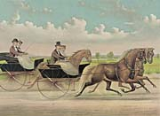 Currier And Ives A Brush with Webster Carts