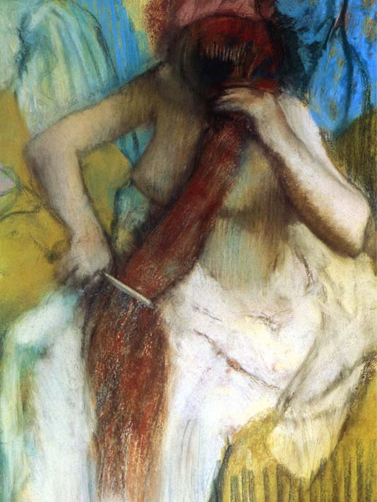 Edgar Degas Nude Woman Combing Her Hair stretched canvas art print