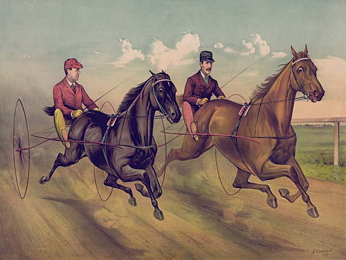 Currier and Ives A Champion Horse Race stretched canvas art print