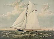 Currier and Ives A Crack Sloop in a Race to Windward