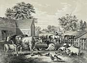 Currier and Ives American Farm Yard - Evening