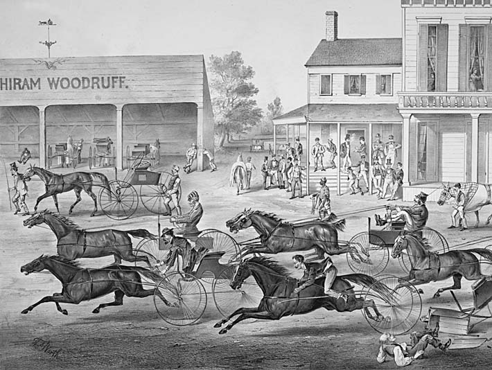 Currier and Ives Coming from the Trot - Sports on the Home Stretch stretched canvas art print