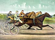 Currier and Ives Fast Trotting to Fast Wheels