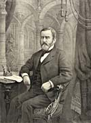 Currier And Ives General Grant in His Library, Writing His Memoirs