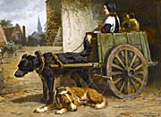 Henriette Ronner Knip Draught Dogs Resting in a Dutch Town