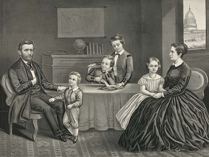 Currier And Ives Ulysses S Grant Family At Home Stretched Canvas Art Print