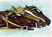 Currier and Ives Head and Head at the Winning Post