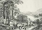 Currier And Ives Hunting and Fishing Scene