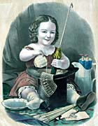 Currier And Ives Little Girl Into Mischief