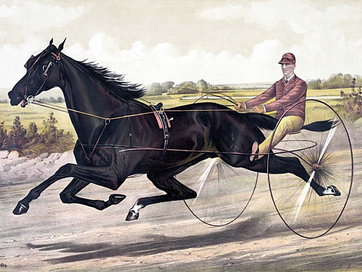 Currier and Ives Jay Eye See Trotter Horse Racing stretched canvas art print