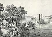Currier And Ives Low Water in the Mississippi River