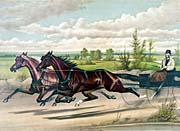 Currier And Ives Mill Boy and Blondine Harness Racers