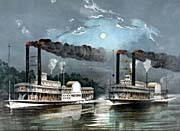 Currier And Ives A Midnight Race on the Mississippi River