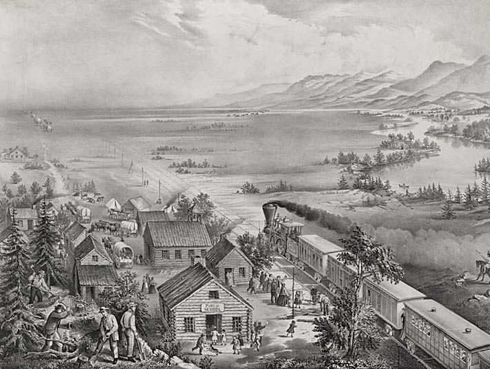 Currier and Ives Railroad Across the Continent stretched canvas art print