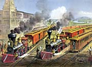 Currier and Ives American Railroad Scene