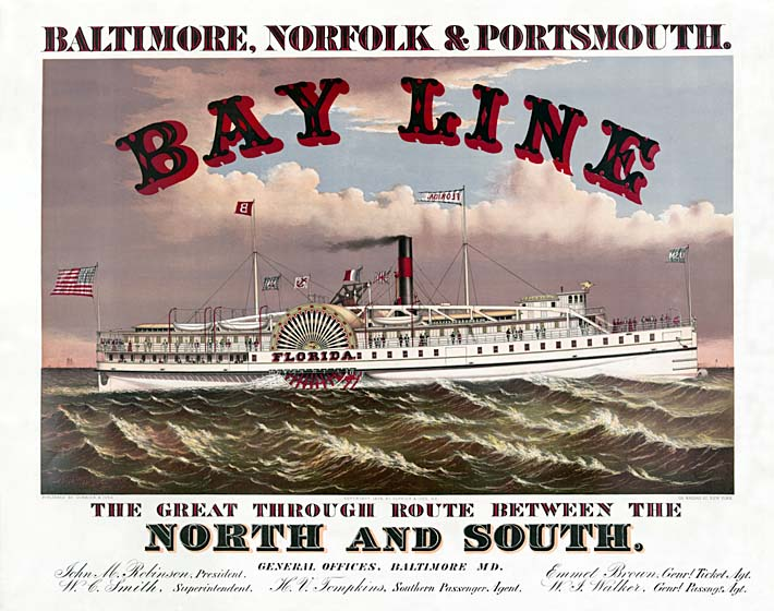 Currier and Ives Bay Line Steamship stretched canvas art print